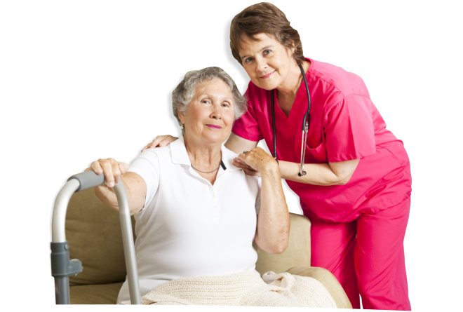 Caregiver and the old woman